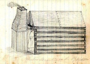 """Winter Quarters on the Rapidan"" sketch by Jacob L. Bechtel Courtesy of Gettysburg National Military Park"