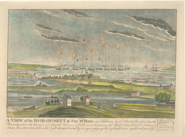 A view of the bombardment of Fort McHenry.  (courtesy of New York Public Library Digital Collection)