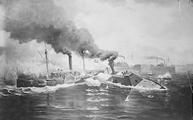 The CSS Albermarle once fought the USS Saccacus to a standstill in Albemarle Sound. By the fall of 1864, the Albemarle rested as the victor of Plymouth. (National Archives)