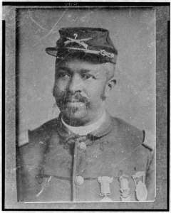 Christian Fleetwood, one of the fourteen Medal of Honor recipients from the Battle of New Market Heights, shown in a post-war portrait. Fleetwood belonged to the 4th USCT Infantry at the time of the Battle. (Courtesy of the Library of Congress)