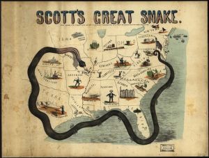 Scott's Great Snake. Map created in 1861 by J.B. Elliot. Courtesy of the Library of Congress.