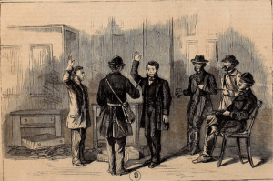 Raiders force bankers to pledge loyalty to the Confederacy, as depicted in the Nov. 12, 1864 edition of 'Frank Leslie's Illustrated Newspaper.'