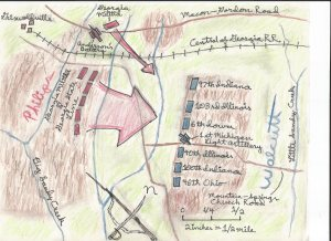 An adapted map of the Battle of Griswoldville.  Map copyright of Benjamin H. Allen