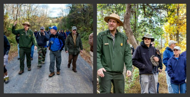 Leading a walking program following the route of Confederate General Joseph Kershaw's attack on October 19, 1864. (Photo courtesy of NPS / CEBE)