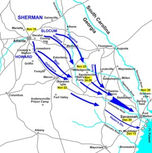Sherman's March to the Sea. Hal Jesperson cwmaps.com