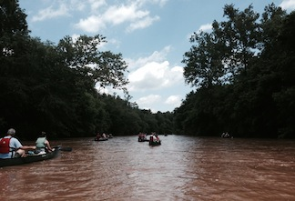 Heavy rains made for a high river for the 2014 Civil War Paddle (photo by Chris Mackowski)