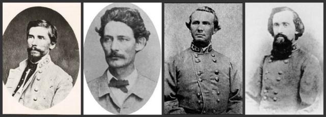 L to R - Maj. Gen. Patrick Cleburne, Brig. Gens. Hiram Granbury, States Rights Gist, & Otto F. Strahl