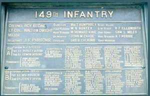 The 149th Pennsylvania Infantry on the Pennsylvania Monument at Gettysburg.