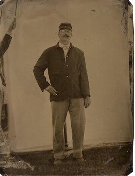 Tom Schobert strikes a jaunty pose as his great-great grand uncle, Pvt. Frank Krug