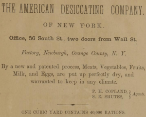 Advertisement for the American Desiccating Company in