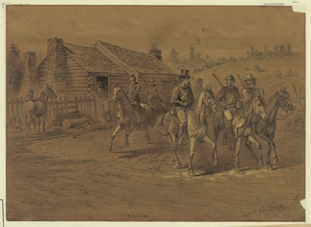 Some of Sherman's bummers riding off with confiscated chickens and horses.