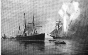"""The """"Caleb Cushing"""" exploded around 2 PM on June 27, 1863.  (Image from """"The Rudder"""", Vol. 16."""