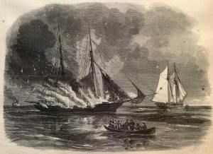 "The ""Caleb Cushing"" burns in a print from the July 11, 1863 edition of ""Harper's Weekly"""