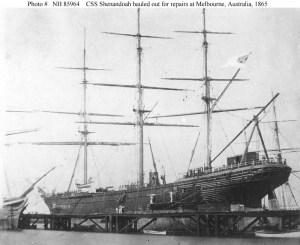CSS Shenandoah hauled out for repairs at Melbourne, Australia 1865 (Naval History and Heritage Command)