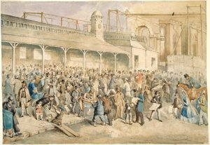 Mail Day. Arrival of the monthly mail steamer from London, c.a. 1865. Courtesy of the State Library of Melbourne.