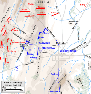 Gettysburg, July 1st-Noon. Map by Hal Jespersen, www.posix.com/CW