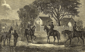 A contemporary sketch of Johnston and Sherman meeting.