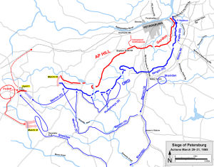 Petersburg Actions March 29-April 1st. Map by Hal Jespersen.http://www.cwmaps.com/freemaps.html