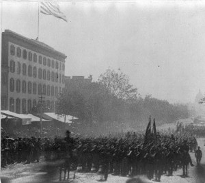 Detail of a Stereograph showing the Grand Review of the Union Army veterans on Pennsylvania Avenue, Washington, D.C., May 23-24, 1865. Courtesy Library of Congress.