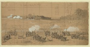 Fighting along the Darbytown Road. Courtesy of the Library of Congress.