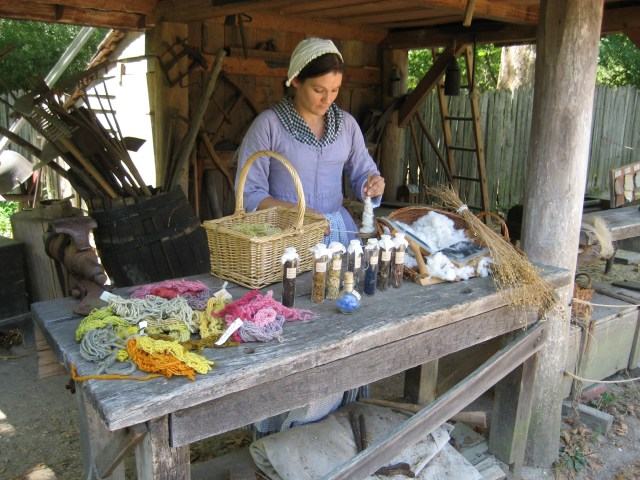 Living Historians bring the clothing process of colonial America alive (courtesy of JYF)