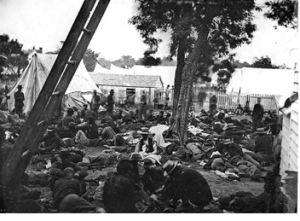 Field Hospital scene often encountered by McGuire. (Taken at Savage Station during the Seven Days' Battles in 1862)