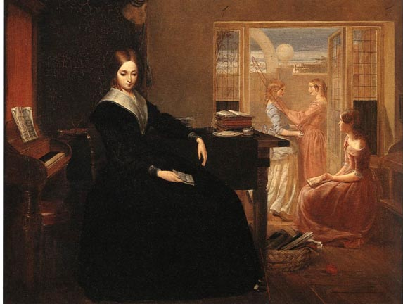 "No reliable photographs of Arabella Griffith Barlow have survived; but this painting - ""The Governess"" - hints at her life during the antebellum period. (This artwork was published in the US before 1923 and public domain in the US.)"