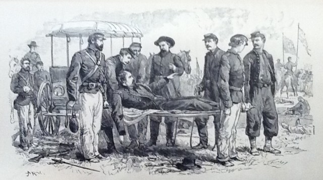 "General Hancock wounded at Gettysburg (Illustration from ""Life of Hancock"" published in the 1880's)"
