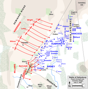 The assault on Cemetery Ridge, July 2nd, 1863. Map courtesy of Hal Jesperson. www.posix.com/CW