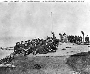 Sailors aboard the USS Passaic.