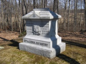 The advanced, advanced monument to the 27th Connecticut along Brooke Avenue. This monument was dedicated October 22, 1885.