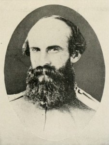 """Confederate Cavalry General William E. (""""Grumble"""") Jones, here still a colonel in 1862, helped orchestrate the defense of a supply train at Monterey Pass and organized the ferrying of the wounded over a raging Potomac River at Williamsport. Photographer unknown - The Photographic History of The Civil War in Ten Volumes: Volume Four, The Cavalry. The Review of Reviews Co., New York. 1911. p. 78., Public Domain. https://commons.wikimedia.org/w/index.php?curid=7485109"""