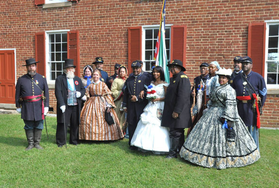 Group Wedding Photo at Historic Old Salem Church