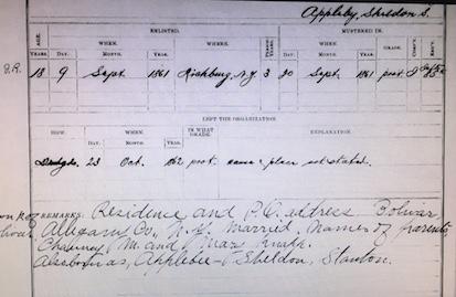 Sheldon Appleby Regimental Roster