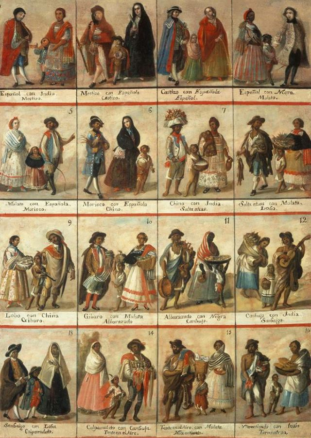 Proving especially difficult for the census compilers, there were even categories for the varying degrees of racial mixture, as this eighteenth century painting makes clear. (Museo Nacional del Virreinato)