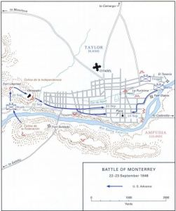 The actions on Sept. 22, 1846 focused entirely on the western approaches to Monterrey as William Worth sought to capture Independence Hill (US Army)