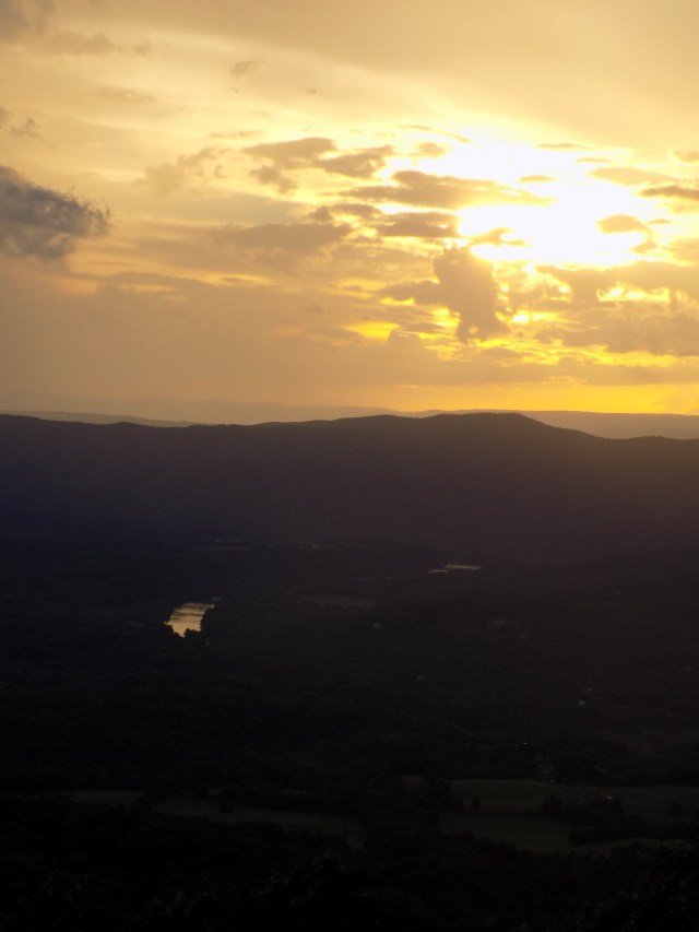 Sunset and Storms in the Valley. Amazing! (Look closely and you'll see part of the Shenandoah River; it looks like a shiny mirror down in the valley.)