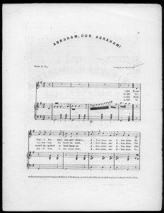 """Abraham, Our Abraham"" - 1864 sheet music. The cover announces that the lyrics are sung to the tune ""Maryland, My Maryland."" ( Library of Congress, Music Division)"