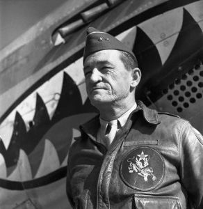 Original caption: 11/15/1944-Kunming, China- Major General Claire Chennault, Commander in the US Air Force during World War II, is shown posing at the Air Base in Kunming. November 15, 1944 Kunming, China