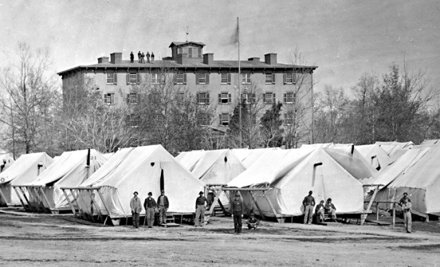 Undated photo of Washington's Douglas Hospital and rows of hospital tents similar to the two tents George Marden wrote were blown down in a late December storm. (Photographer unknown, U.S. Military Institute.)