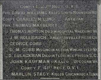 Honored dead of the 23rd Ohio Volunteer Infantry on the Poland Civil War Monument. (Image courtesy the author)