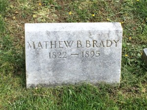 Mathew Brady's original tombstone, bearing the incorrect death year of 1895.