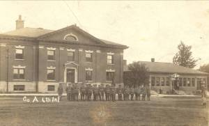 The historic 1905 and 1918 Jefferson Barracks Post Exchange Buildings in the 1920s. Image courtesy of the Missouri Civil War Museum.