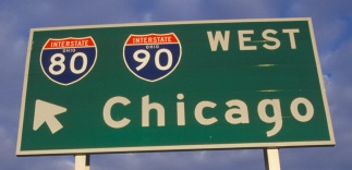 Two interstate signs for Chicago and Toledo