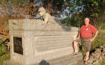 Brian Swartz and 96th Penn Inf monument at Gettysburg