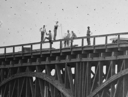 High Bridge CU of people