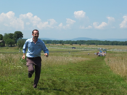 Rushing for reinfocements on the field of Pickett's Charge, 2015. Photo by Bruce Guthrie