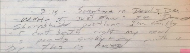 Section of Garry's July 1988 journal where he wrote his impression upon seeing the Dead Sharpshooter position