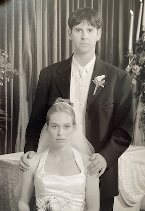 The 19th century-style wedding portrait upon which Garry insisted, 2001