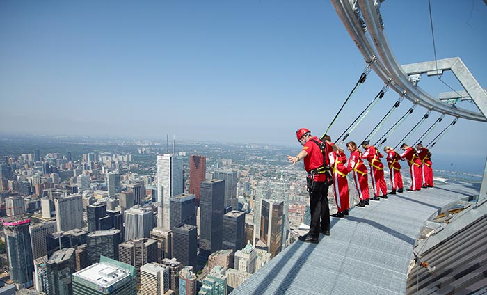 EdgeWalk is the world's highest hands-free walk on a building (Guinness World Record) on a 5 foot wide ledge encircling the top of the CN Tower's main pod
